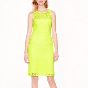 Lace Neon Yellow Sheath J Crew Dress
